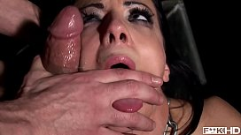 Black-haired bound Liz sucks big hard cock &amp_ gets ass filled with vibrator