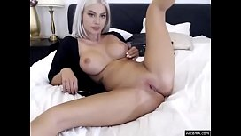 Sexy Blonde shaved Pussy Stripping Show