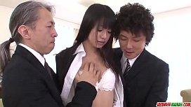 Kotomi Asakura super hot office sex with two men - More at Japanesemamas com