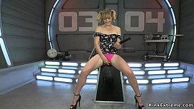 Blonde squirter fucked by machine