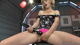 Blonde squirter fucked by machine