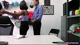 Sexy ebony gets fucked by horny Security Guard