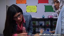 Lovely Mia Khalifa swallows big dick in POV threesome