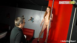 AMATEUR EURO - Big Ass Teen Sucks And Fucks Hard With Older Lover On A Club Table