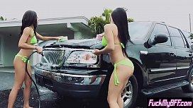 Super hot wet bikini teens wanted extra money at a job