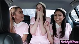 Crazy slut teens in a foursome sex with a horny passenger