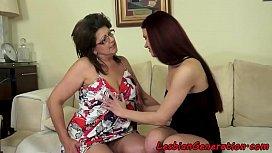 Spex lesbian granny queening sweet teen