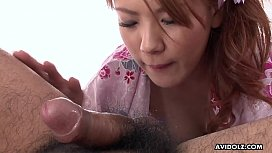 Pretty Asian chick Rei got her hairy pussy nailed hard