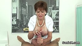 Adulterous uk mature lady sonia flashes her big balloons