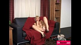 Blonde cougar with big tits using dildo for pleasing
