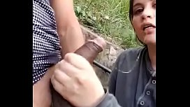 Indian girlfriend licking and pressing boobs