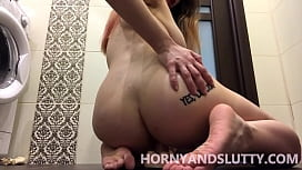 Young russian slut with huge tits fucks  wet pussy for her daddy