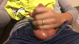 Son prostate milk himself to his sleeping mom on the couch but got caught huge cumshot