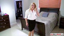 Cock addict MILF stepmom blows her stepsons big dick