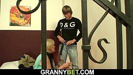 Old skinny blonde granny fuck