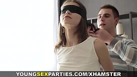 Blindfolded gf surprise with friend