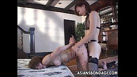 Tied up Japanese chicks drilled hard