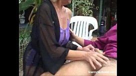 Horny granny in action