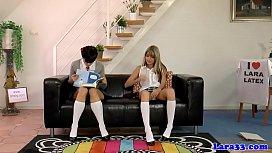 Stockinged milf spanking schoolgirls in trio
