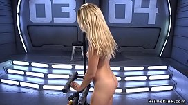 Very hot petite blonde rides Sybian