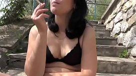 Sexymandy flashing big hairy pussy outdoor on public stairs. Upskirt. No panties.