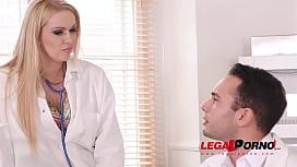 Blonde busty nurse Amber Jayne rides Doc'_s big fat dick at the XXX clinic GP454