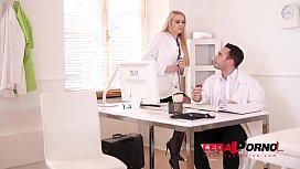 Blonde busty nurse Amber Jayne rides Doc'_s big fat dick at the XXX clinic GP454