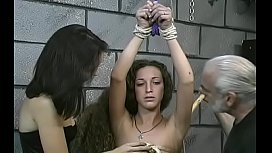 Obedient legal age teenager in fine scenes of bizarre bondage