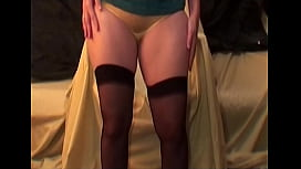 Milf in stockings yellow panties tease