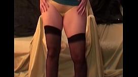 Milf in stockings yellow panties tease