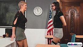 Nerdy teen facesits busty milf teacher