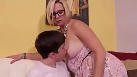 Sexy Mature Woman Jerks Off Teen Boy While Husband At Work