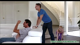 Cute Petite Blonde MILF Step Mom Kennedy Kressler Has Sex With Step Son During Super Bowl