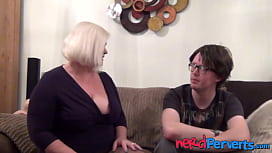 Curvy granny Lacey Starr titty fucking and blowjob
