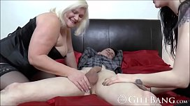 Hot GILF goes wild with a big dick in threesome