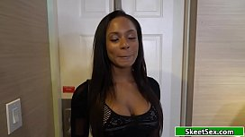 Ebony masturbates before riding dick