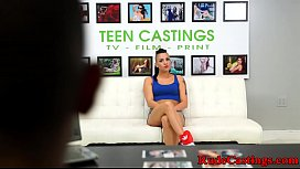 Doggystyled teen c. on cock at casting