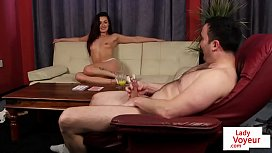 Dominant babe gets naked to tease guy in JOI