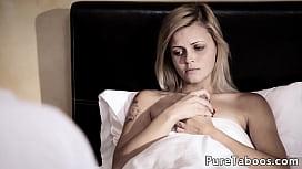 Horny blonde addict fucks therapist