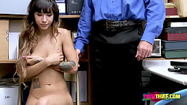 Kitty Carrera gets her mouth and coochie drilled by horny officers cock