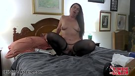 MILF plays with huge octopus tentacle sex toy