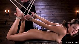 Hairy cunt spinner fucked in bondage