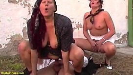 b. threesome anal orgy at the family farm