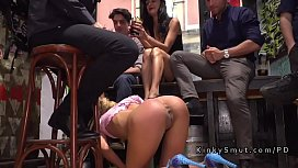 Tied up blonde flashes ass in public