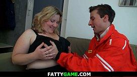 Big tits blonde fatty