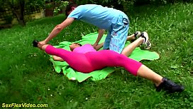 real outdoor flexi sex with cute teen gymnast