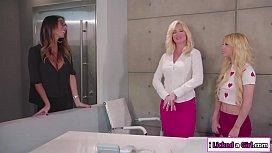 Teen babe licks stepmom and her boss