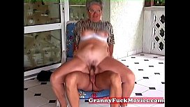 Young stud fucking old fat granny