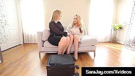 Bisexual Saleswoman Sara Jay Pussy Fucks Carmen Valentina!