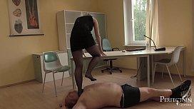 Soft Trampling in Tights - German Mistress Lady Deluxe in Soft Trample Scene